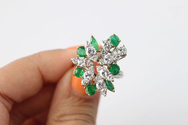 Emerald And Diamond Firework Ring