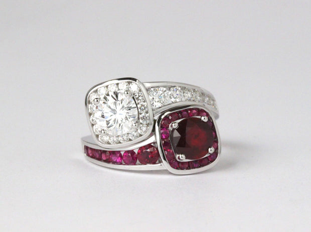 Custom Made Ruby and Diamond Embrace Ring