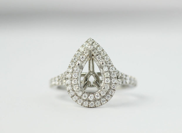 Double Halo Pear Shape Ring Setting