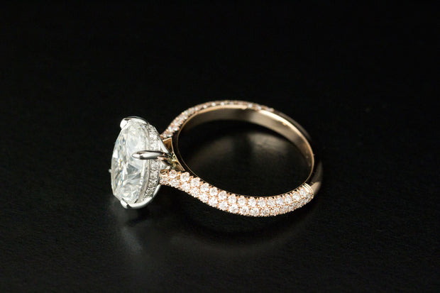 Oval Hidden Halo Engagement Ring | Pave Diamonds Rose Gold