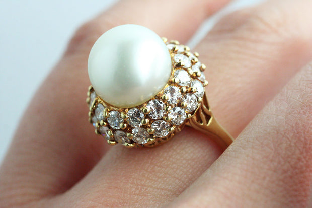 Pearl and Diamond Dome Ring