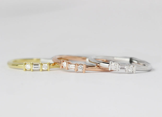 Minimal Baguette and Round Diamond Band | Channel Set