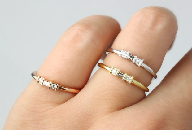 Simple Baguette and Round Diamond Band | Rose Yellow and White Gold Channel Set