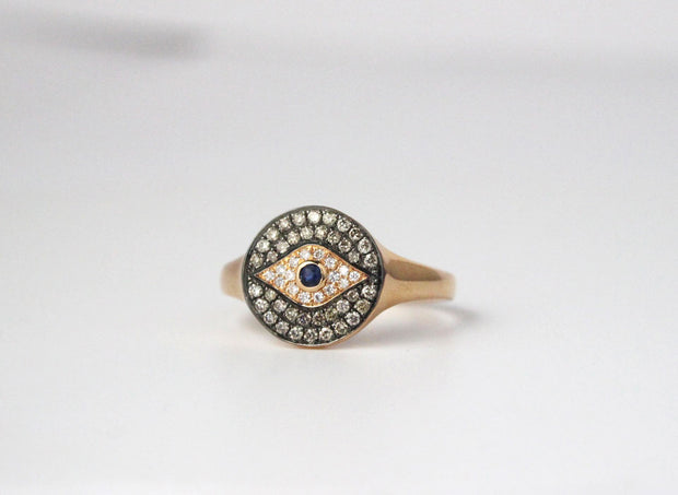 Evil Eye Diamond and Sapphire Ring