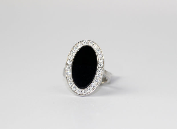 Oval Onyx and Diamond Ring | 14K White Gold