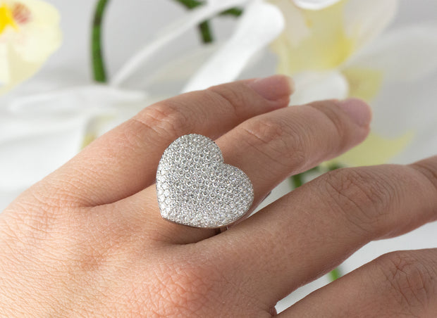 Heart Pave Diamond Ring | 18K White Gold