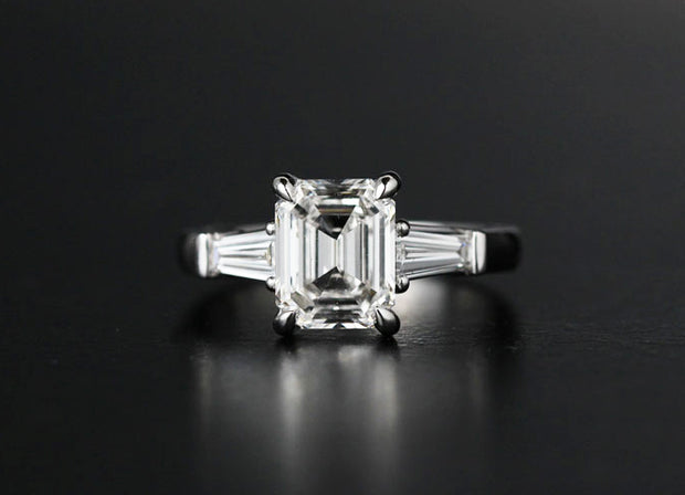 Emerald And Baguette Diamond Engagement Ring