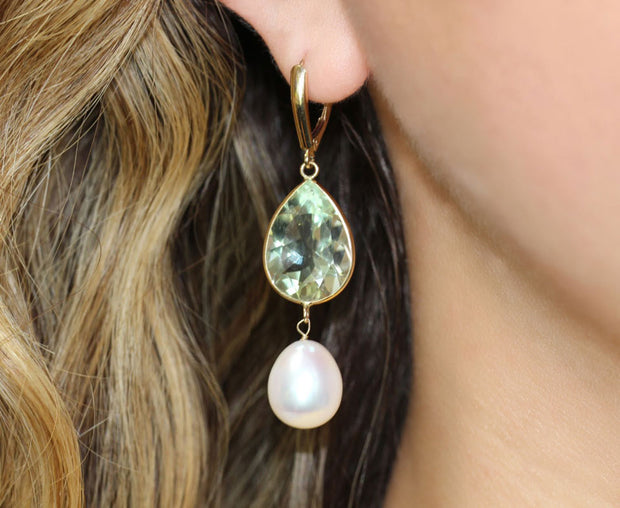 Topaz and Pearl Gold Earrings