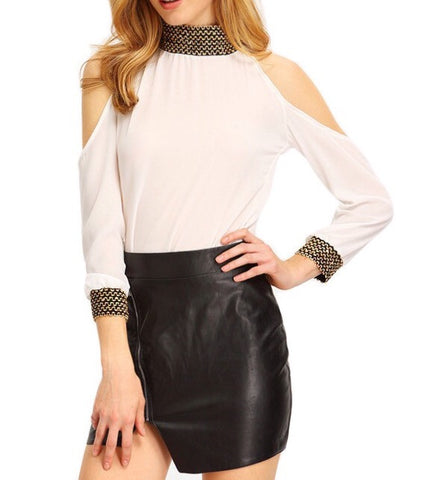 Cold Shoulder Embellished Blouse