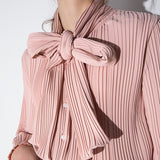 Pleated Bow Ruffle Blouse