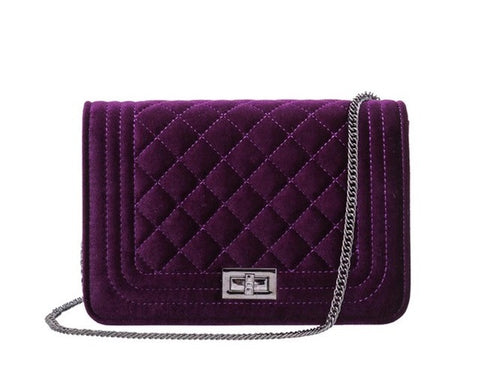 Velvet Quilted Shoulder Bag