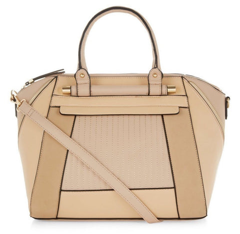 Structured Two Tone Tote Bag