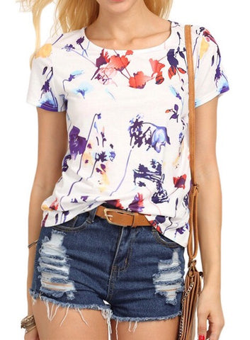 Abstract Print Solid Blouse