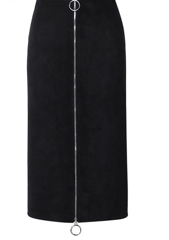 Zip Up Midi Skirt