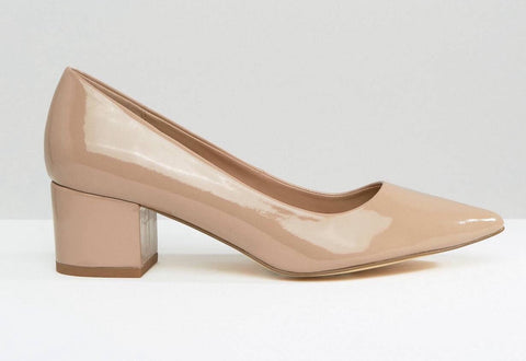 Block Heel Patent Pumps
