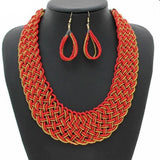 Woven Colored Necklace Set