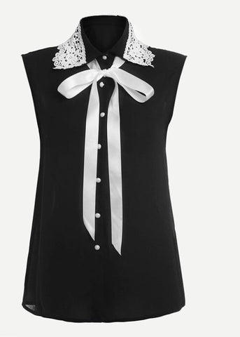 Contrast Sleeveless Blouse