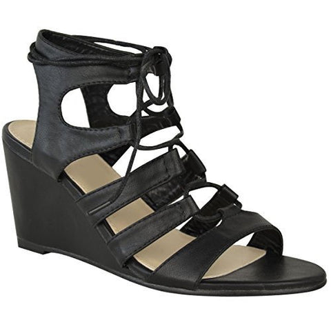 Lace-Up Leatherette Wedges