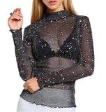 Glitter Mesh Long Sleeve Blouse