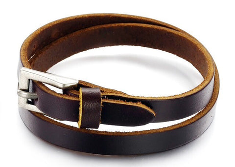 Leather Double Wrap Wristband