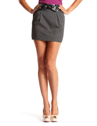 Belted High-Waist Ponte Skirt