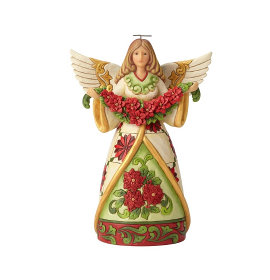 Angel With Poinsettia Garland
