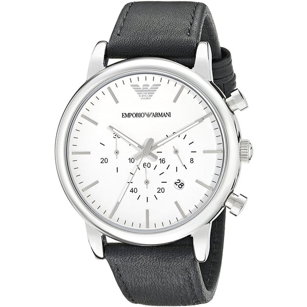 Emporio Armani Chronograph White Dial Black Leather Watch