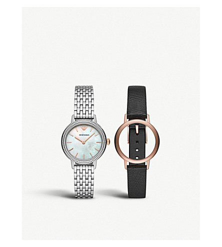 Emporio Armani Women's Three-Hand Interchangeable Watch Gift Box Set
