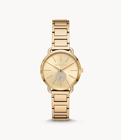 Michael Kors Portia Three-Hand Gold-Tone Stainless Steel Watch
