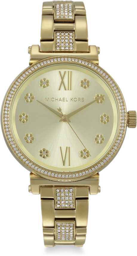 MICHAEL KORS Sofie Pave Crystal Gold Dial Ladies Watch
