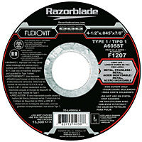 Flexovit Cut-Off Wheel 4-1/2 x .045 x 7/8, A60SST Type 1: F1207