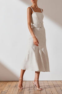SHAW LINEN CONTOUR PANEL MIDI DRESS - STRIPE
