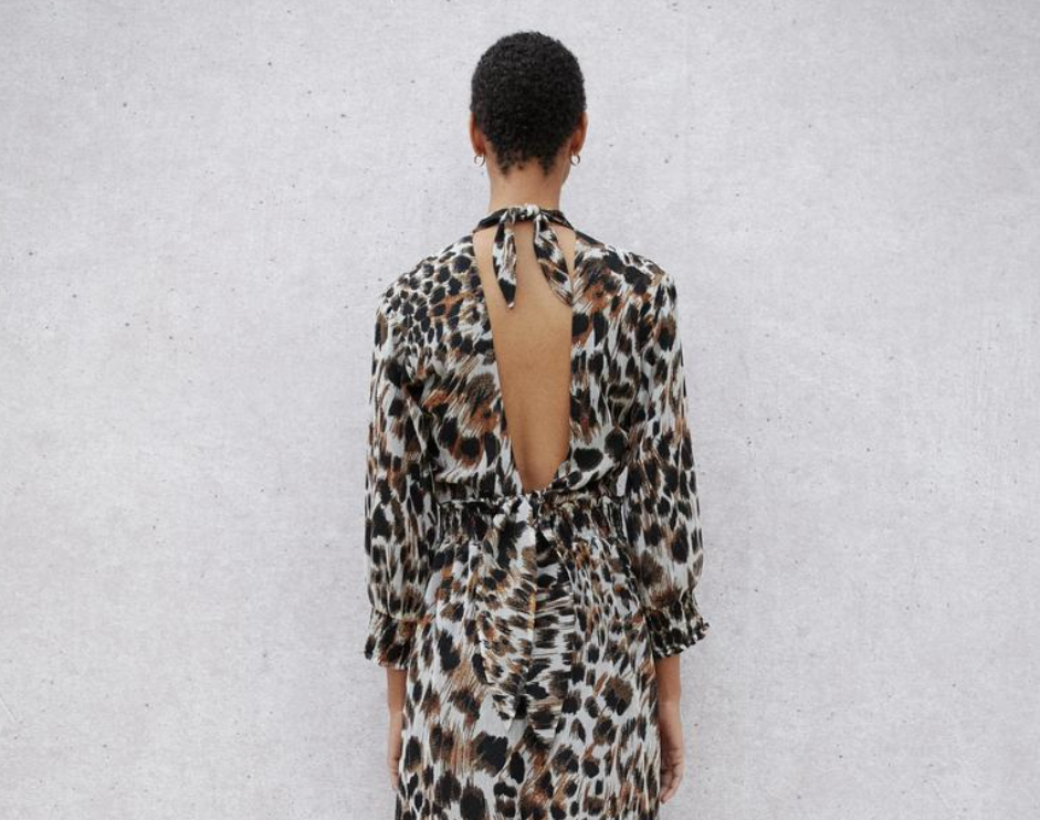 TAMI OPEN BACK PEASANT DRESS - OCELOT PRINT