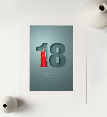 3D effect print design in photo mount of young lady in red party dress and standing inside the number 18 with her name and birthday in an elegant font underneath