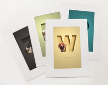 Load image into Gallery viewer, Set of 4 luxury prints with an unusual 3D cutout effect