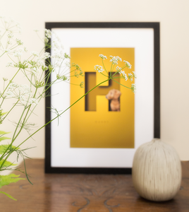 bright yellow cutout letter design with a dog sitting within the H and in a black frame that has been photographed through a vase of  summer flowers