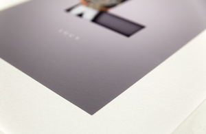 close up of premium quality print showing the texture of the matte paper and its off-white photo mount