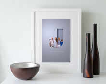 Load image into Gallery viewer, Unique graphic design of family photo digitally added to a 3D cut out effect letter J and their surname displayed in an elegant typeface underneath. Beautifully framed in a white wood picture frame