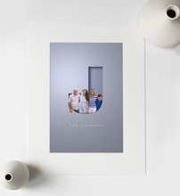 Load image into Gallery viewer, Unusual graphic design of family portrait photo added to a cut out letter effect that gives a 3D look and family name in an elegant typeface written underneath
