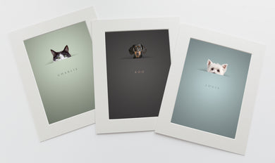 3 pictures in white photo mounts of pets peeking above a horizon line and their names are written below in a serif font