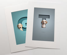 Load image into Gallery viewer, two colourful premuim quality prints inside white photo mounts. a fluffy dog is sitting in each cut out of paper effect capital letter that has a 3D effect