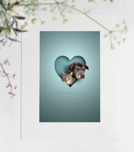 Two Pets/People in Heart Print Mount Only or Framed (from two photos)