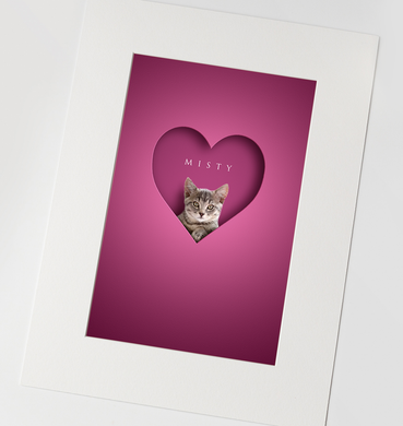 bright pink eye-catching picture design of grey tabby cat digitally added to 3D cut out effect heart shape with name in elegant font above
