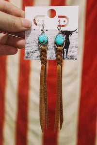 Kingman turquoise & leather earrings tan