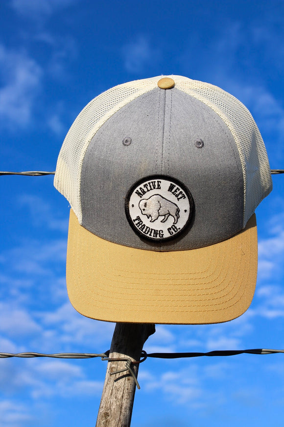 Denim & Gold Center Patch Hat