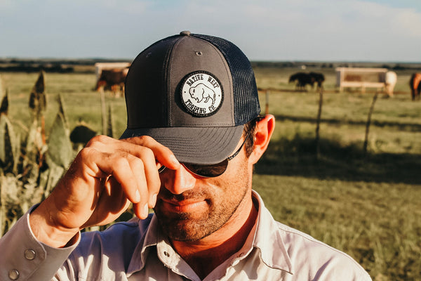 Gray & Navy Side Patch Hat
