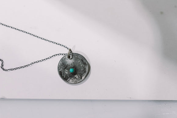 Buffalo Nickel Necklace with Turquoise