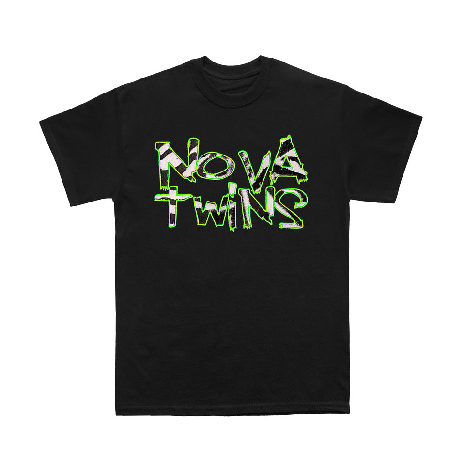 Bad Stitches by Nova Twins Embroidered  Fur Logo  (Black T-Shirt)