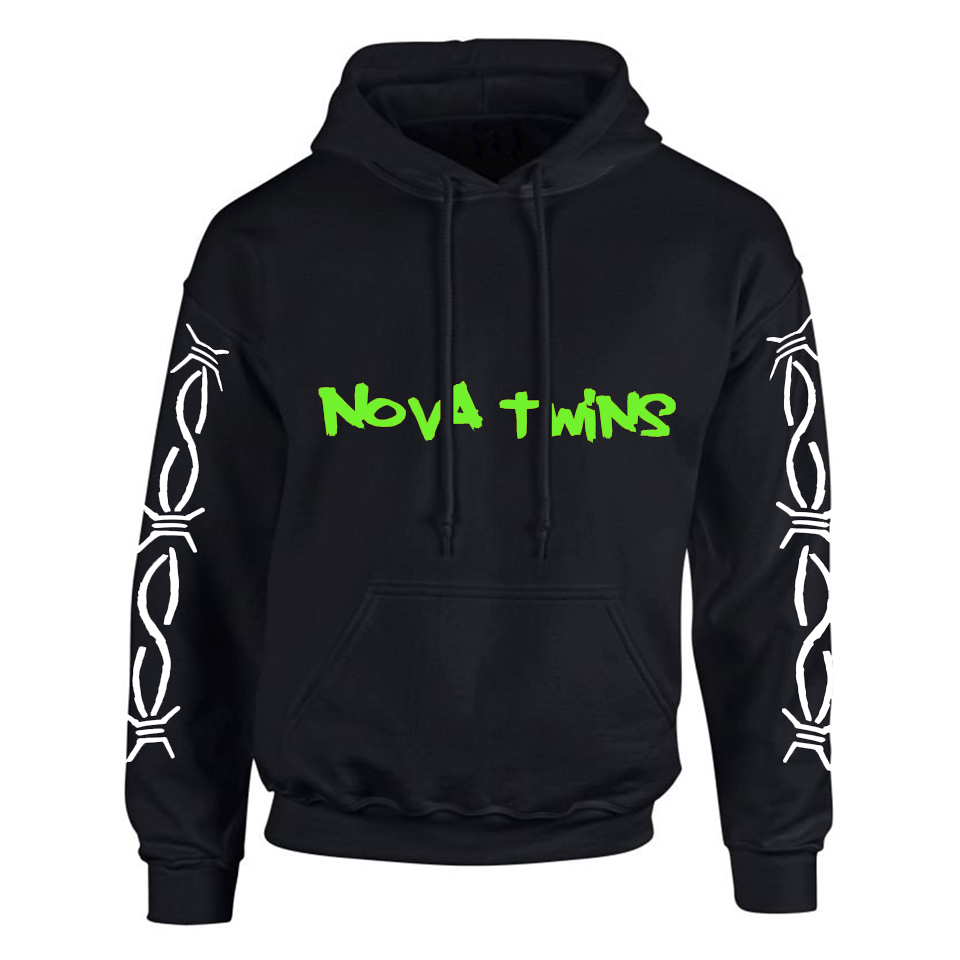 Nova Twins Barbed Wire Green Logo (Black Hoodie) - Pre-Order Only