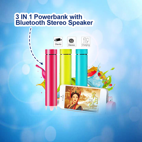3 in 1 Powerbank with Bluetooth Stereo Speaker